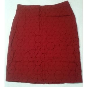 J.Crew red eyelet lace pencil skirt size 6